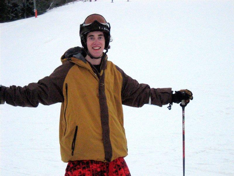 He's skiing, he's happy!