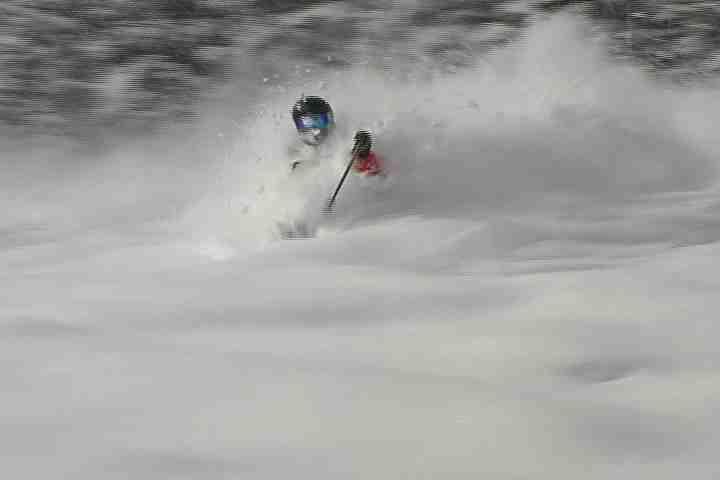 Girls Skiing Powder