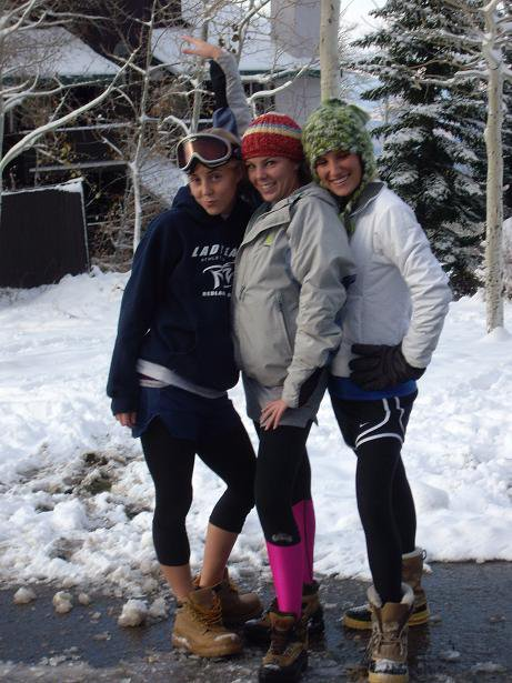 Skier chicks in tigths and boots