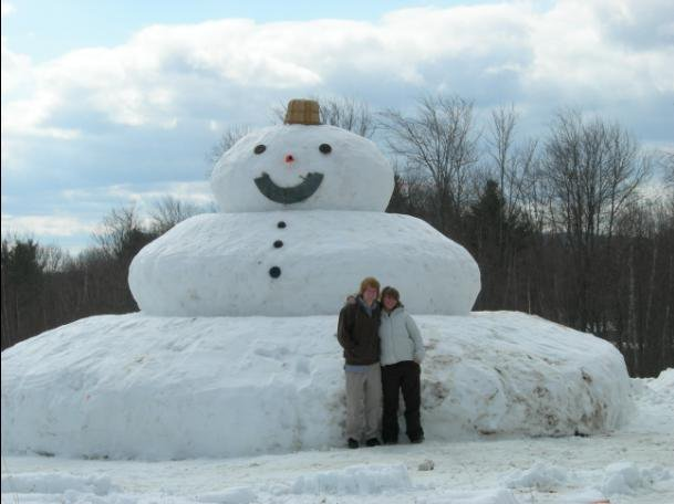 Gilly and I in front of snowman