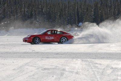 Porsche carrera 4 + frozen lake = fun