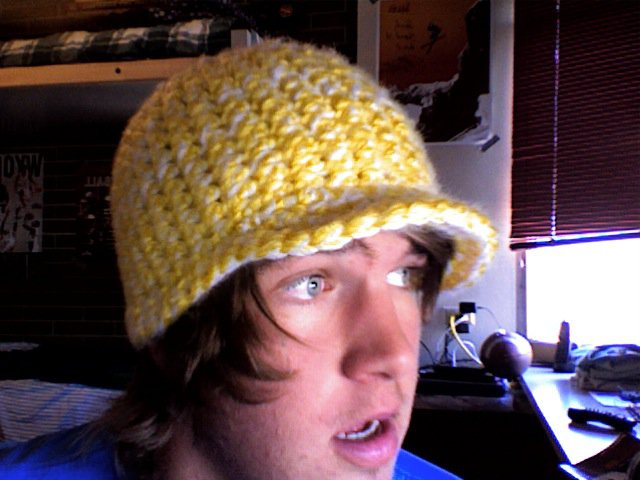 Yellow and White Hat