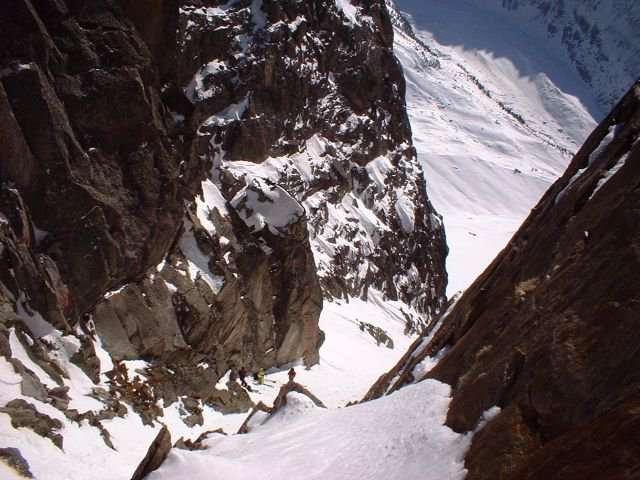 Kye Peterson, Glen Plake, and some guides in Chamonix