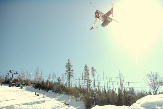 Lucas Gonthier, pushing a reverse nose grab to the limit.