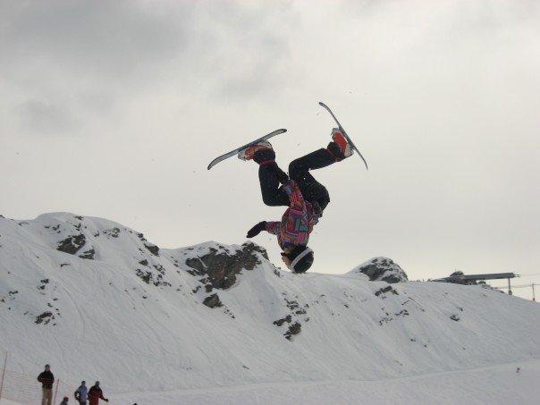 Snowblade Daffy Backflip