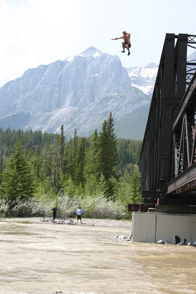 Engine Bridge into Bow River