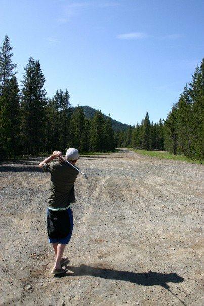 Golfing on the air strip