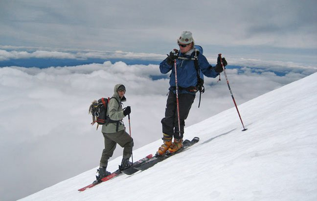 Skiing down Mt. Adams