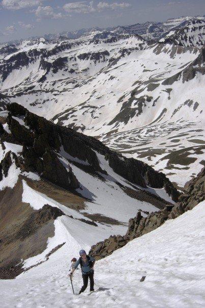 Jen Climbing the Col