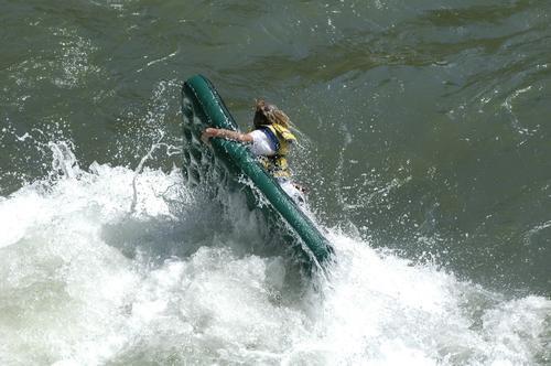 Air mattress rafting