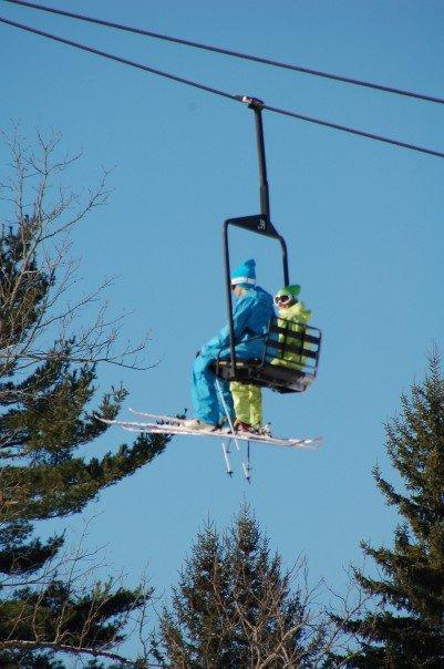 Riding the ski lift