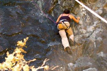 Christine goes climbing