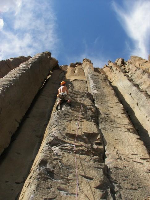 Leading on a face climb