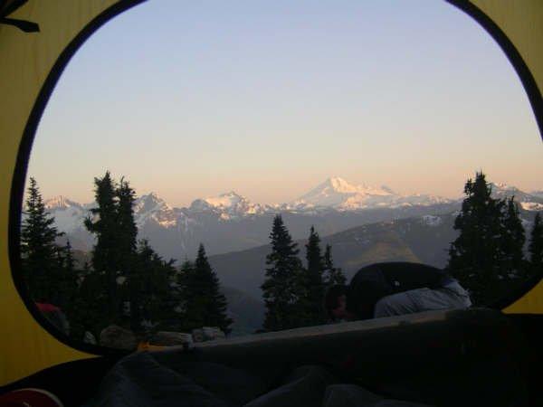 Camping at Mt. Cheam looking at Mt. Baker