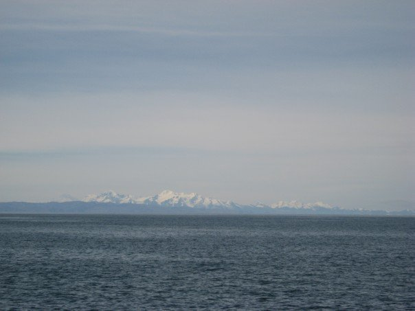 Lake titicaca surrounded by the andes