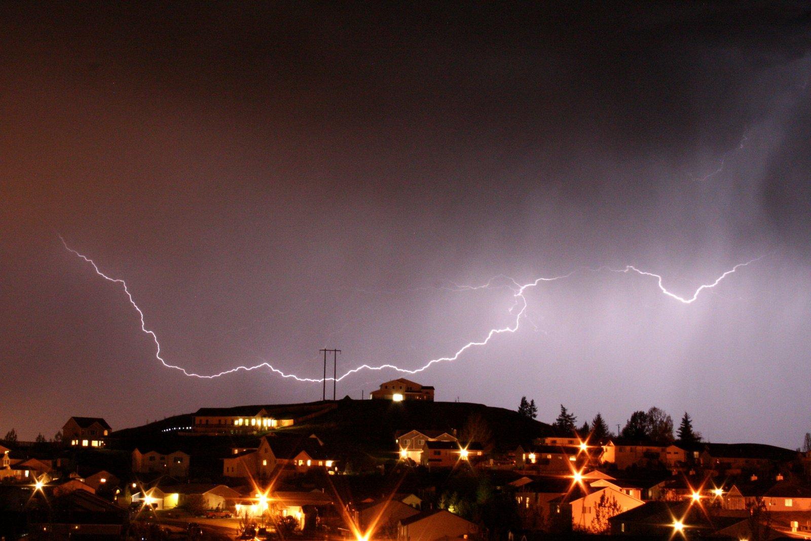 Lightning over hill