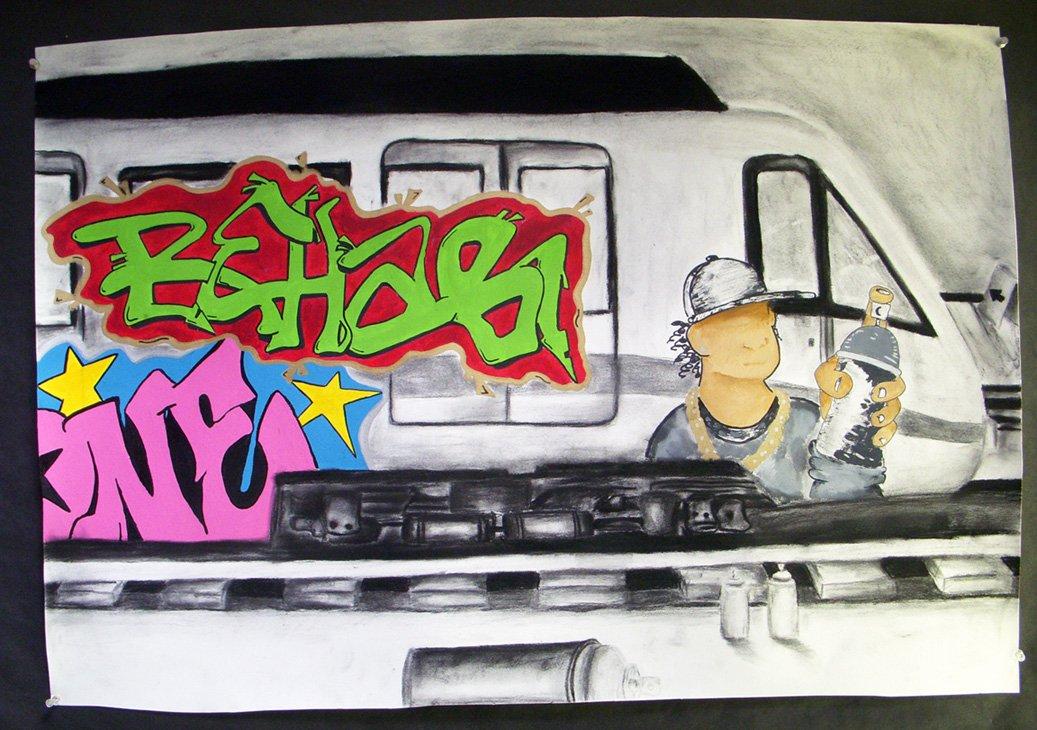 Train with shitty graffiti on it