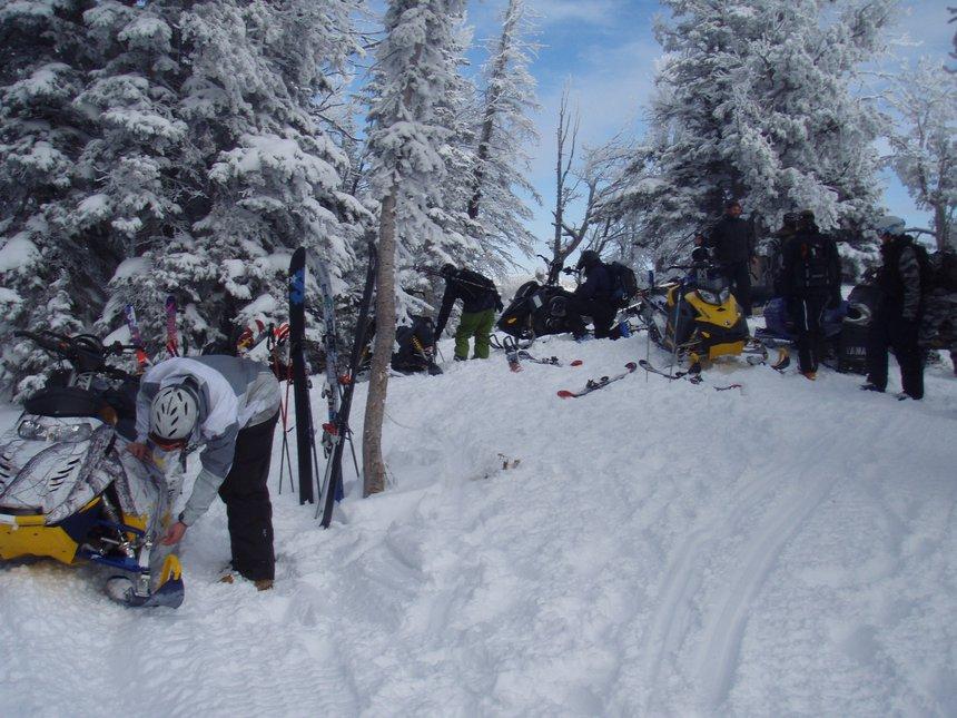 Massive sled skiing crew