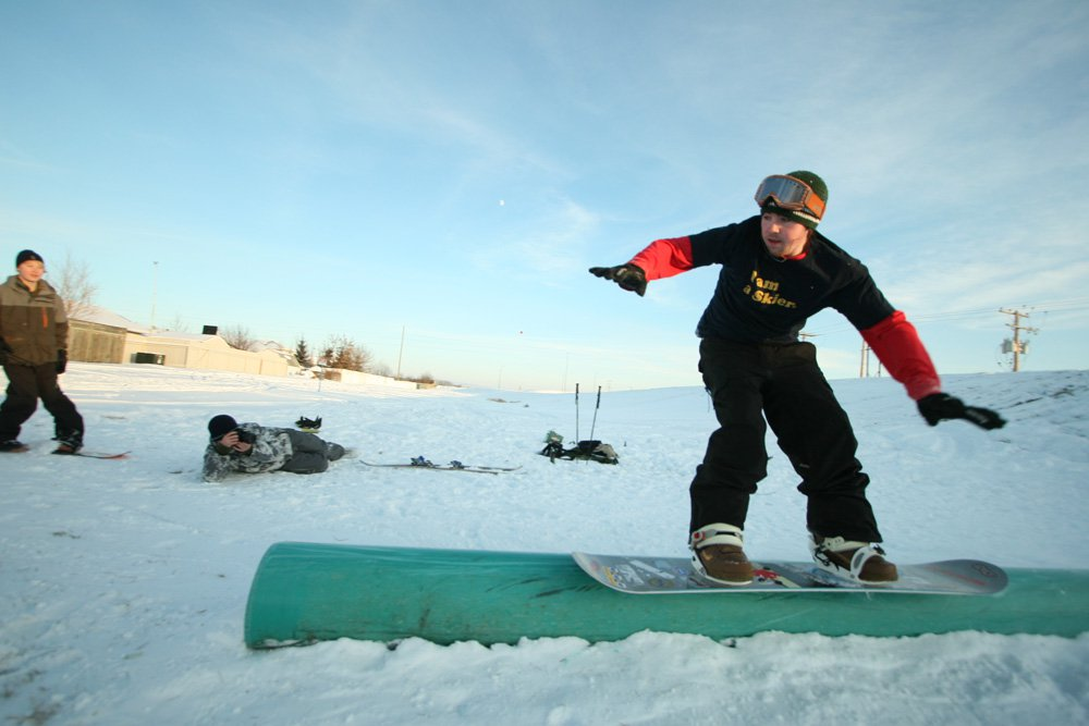 My first time trying out snowboarding