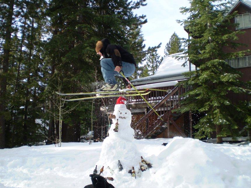 Jumping the druken snowman