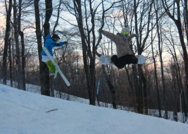 Skier and boarder