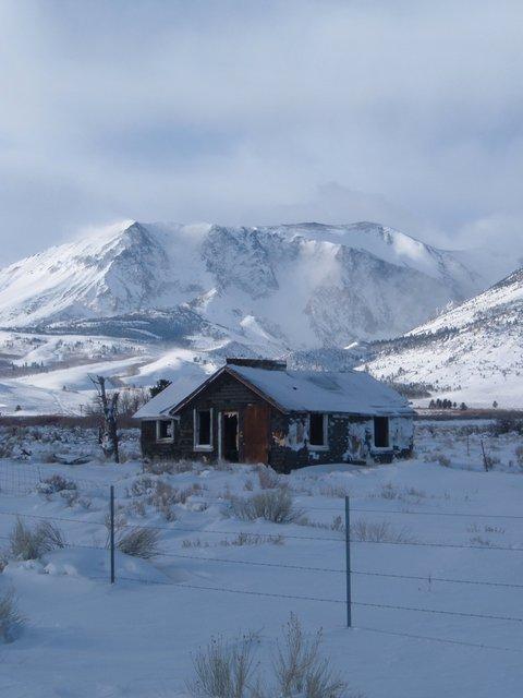 An abandoned homestead along Highway 395