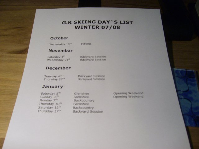 G.K Skiing Day`s List So Far