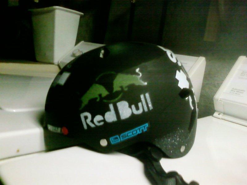 Red bull stencil on helmet