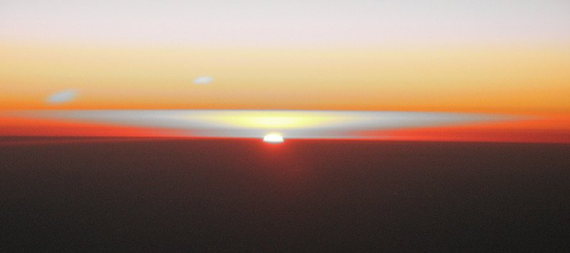 Sunrise in the southern hemisphere at 35,000 feet