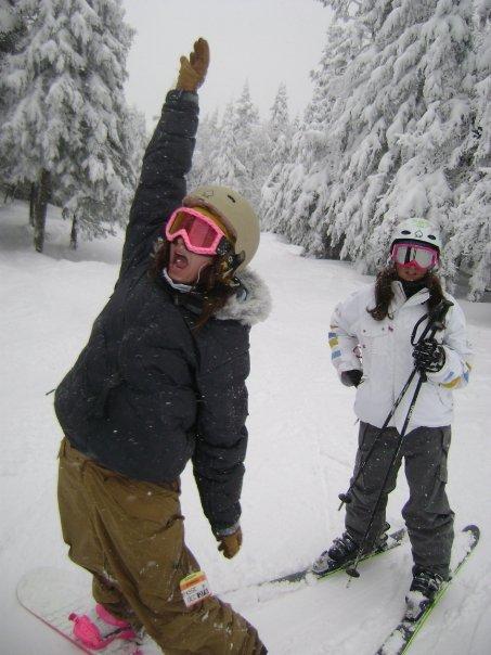 Danika and me taking a tree run