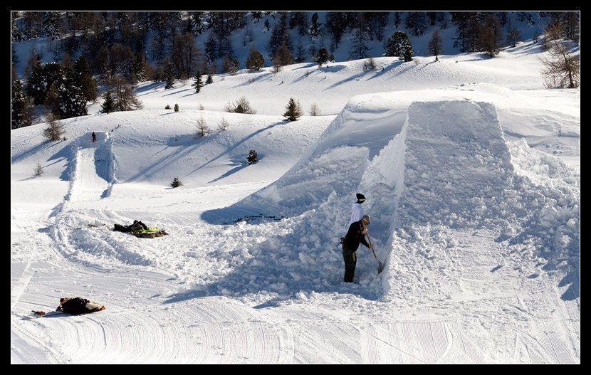 Park kickers with backcountry landings.