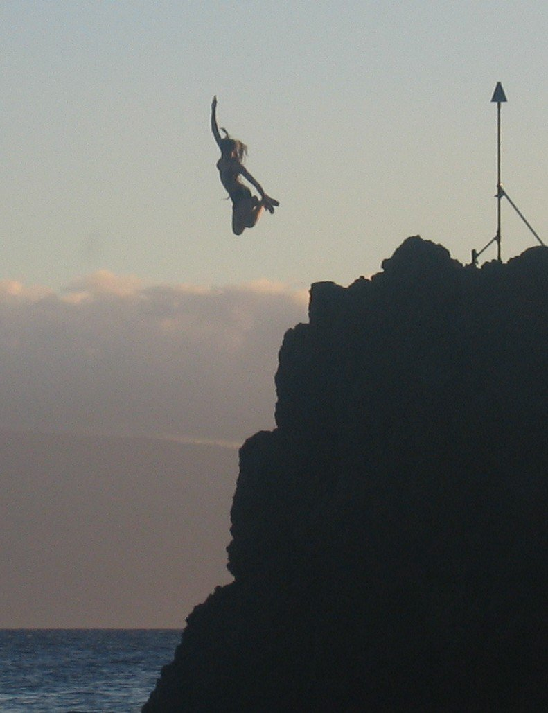 Me jumping off rock