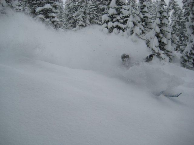 Skiing the pow