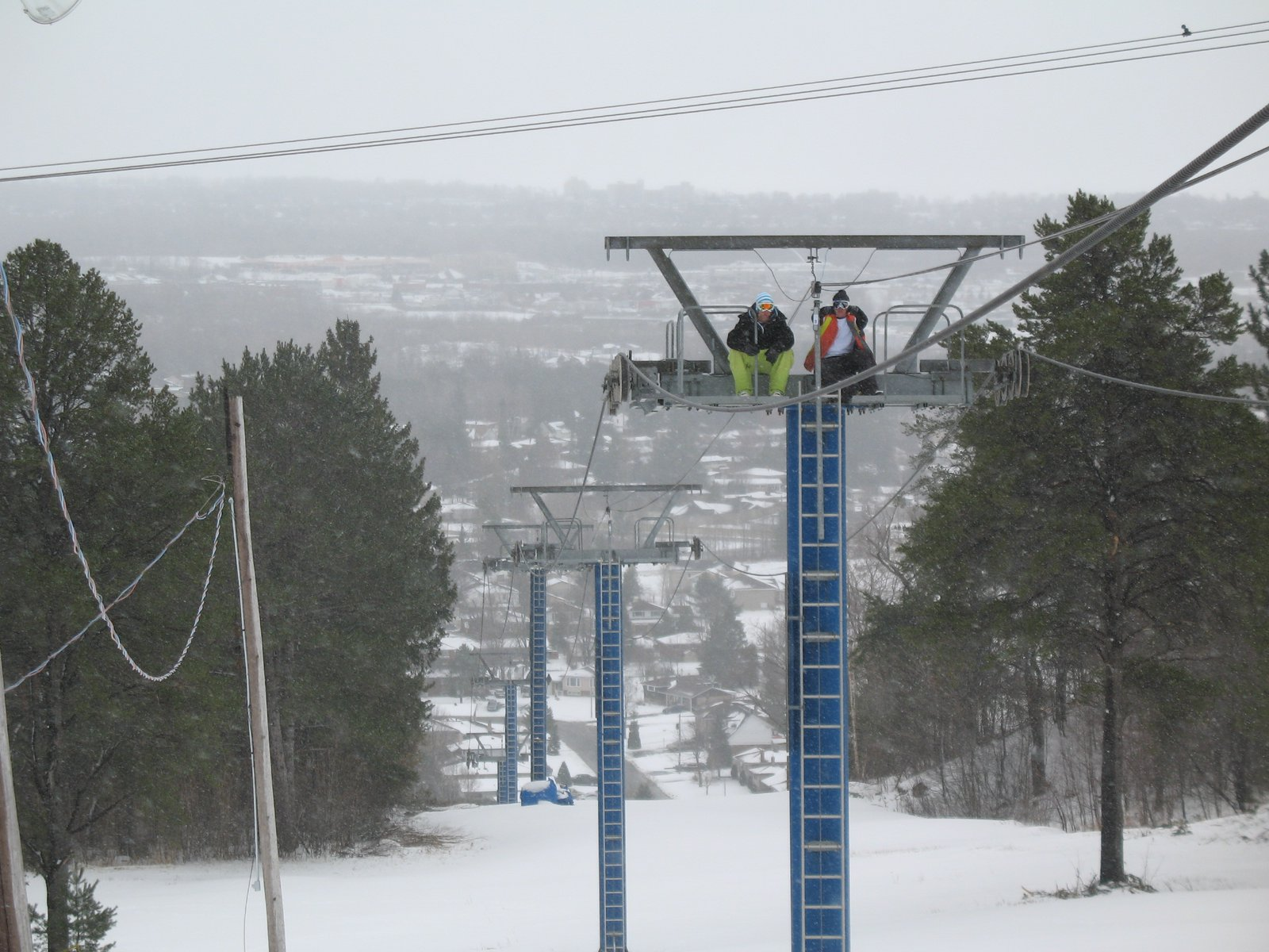 On the lift tower