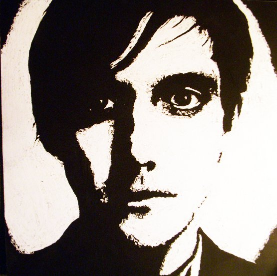 Scratchboard of conor oberst of bright eyes