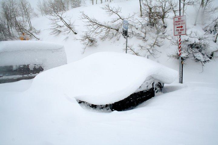Looks like a pancake of snow fell on my car.