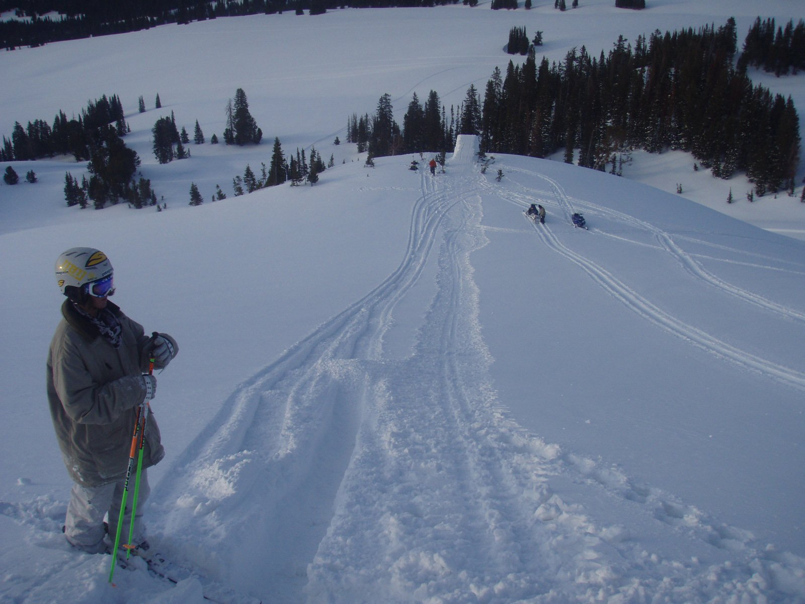 About to drop in for the hunting yeti jump in cooke city
