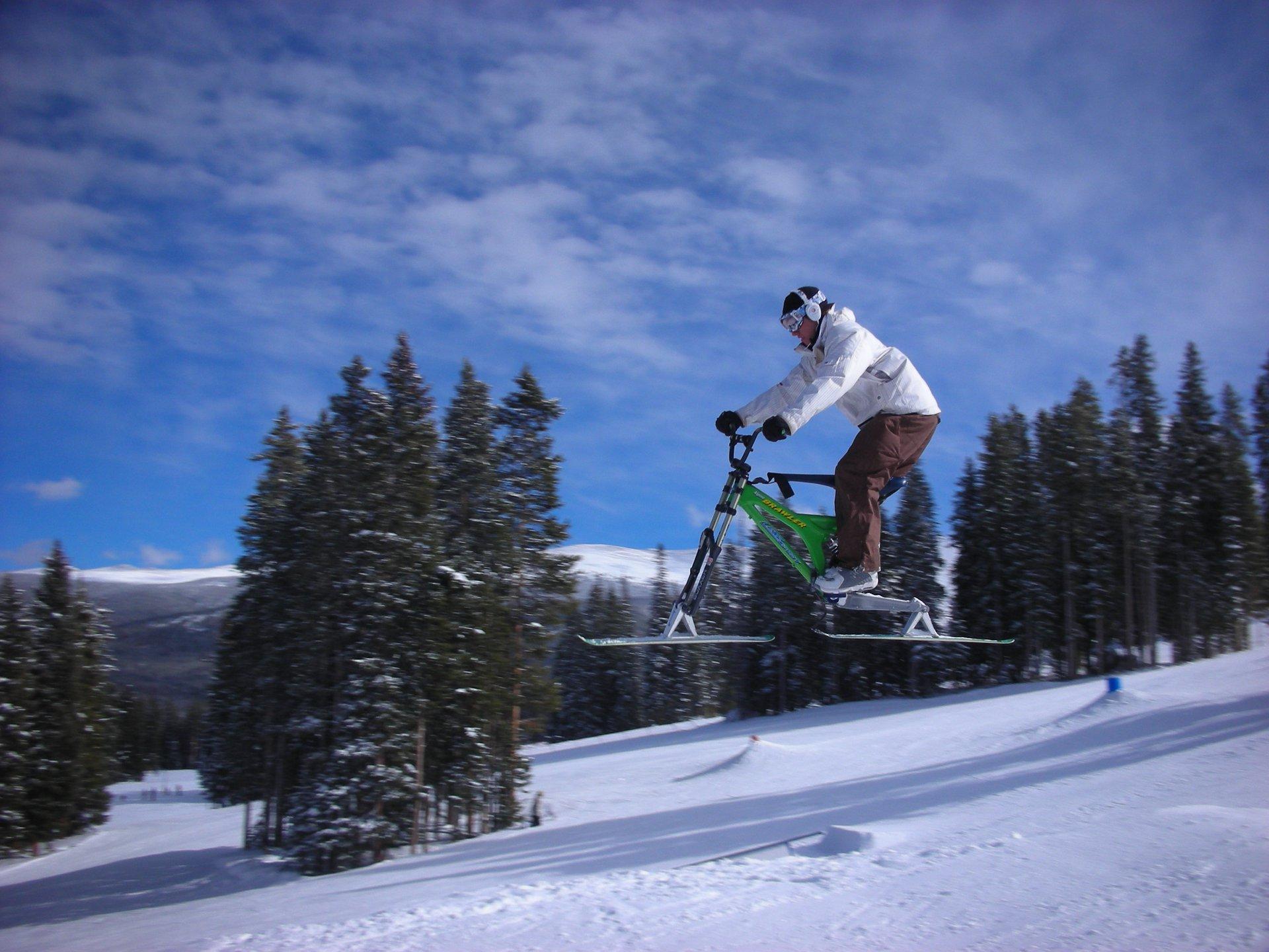 Snow bike jumping