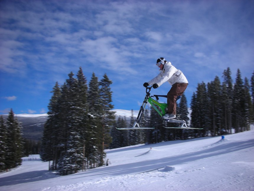 Snow bike jumping