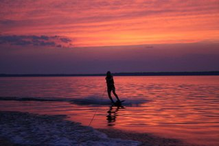 Wakeboard sess on the river sunset
