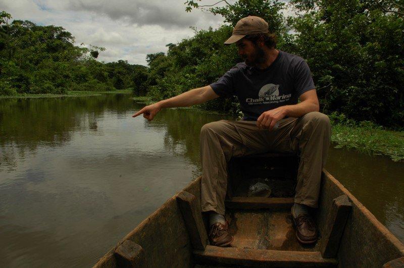 Chris spotting an Anaconda in the Amazon