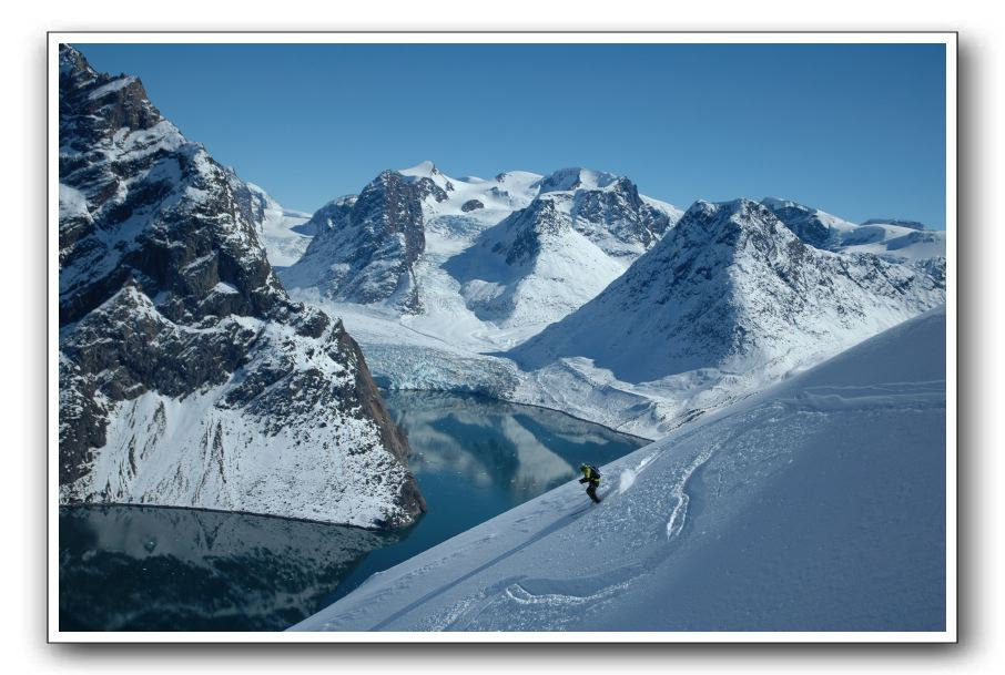Skiing over a fjord in Greenland