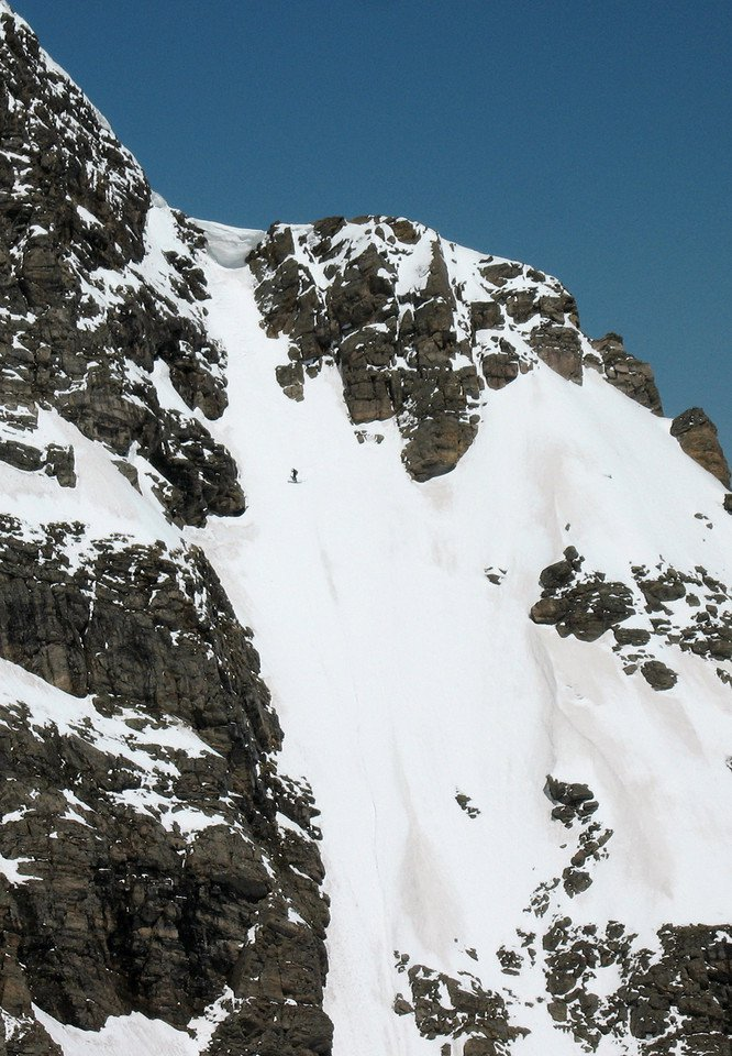 STEEP skiing off Super Star Couloir