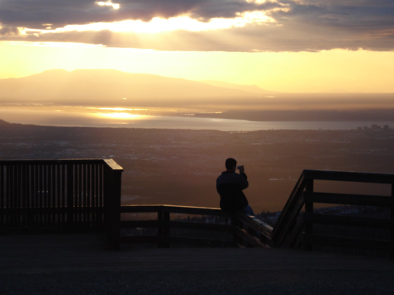 View of anchorage and susitna from flat top park