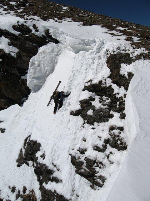 STEEP skiing off Super Star Couloir (entrance shot #2)