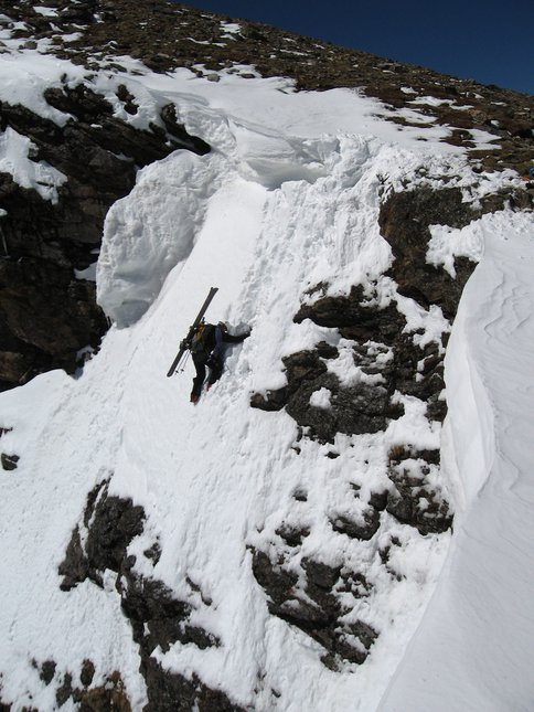 STEEP skiing off Super Star Couloir (entrance shot #2)