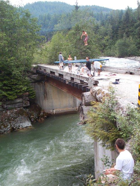 Trampoline off a Bridge