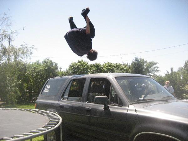 Front flip over car