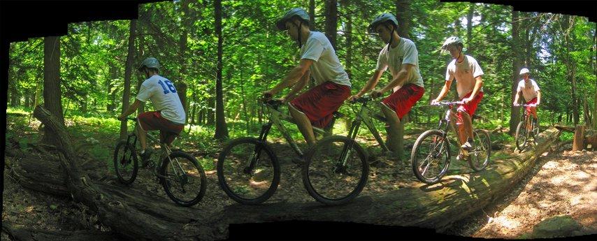 Riding a log on Laurel Mountain