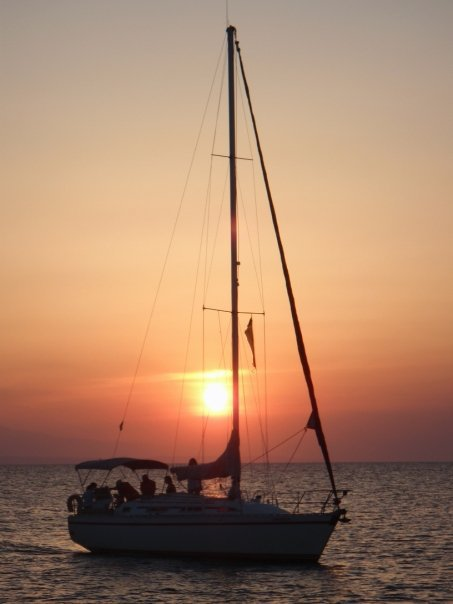 My boat in an Agean sunset